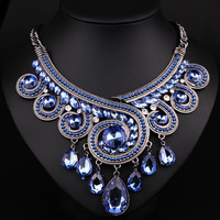 2016 Maxi Necklace Luxury Collar Multi Layer Vintage Rhinestone Necklaces Pendants Gipsy Style Women Statement Necklace