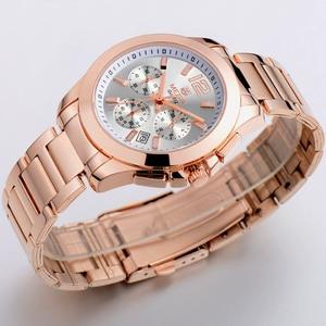 Image 4 - MEGIR הכרונוגרף נשים שעון יוקרה למעלה מותג תאריך שעונים פלדת רצועת קוורץ תאריך גבירותיי שעון מאהב מתנה נשי שעון תיבה 5006