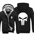 New Fashion 2017 Winter Warm The Punisher Hoodies Anime skull Hooded Coat Thick down men cardigan Jacket Sweatshirt Drake Suits
