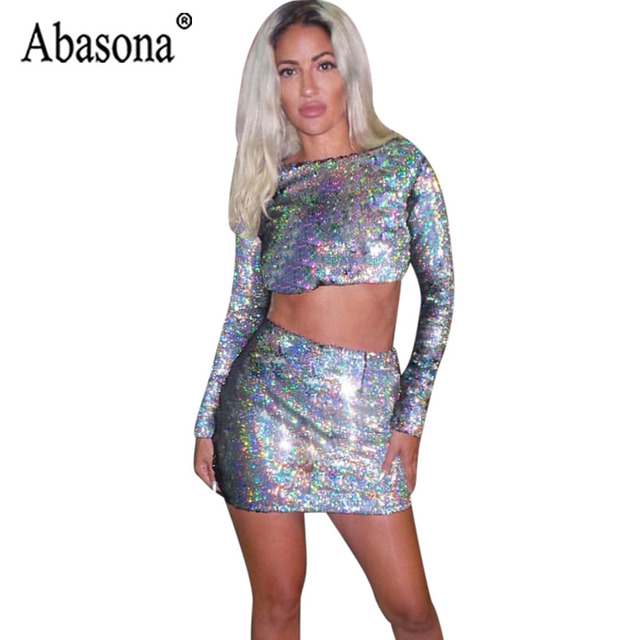5db488d17a6 Abasona Women 2 Piece Sets Sequin Dress O Neck Long Sleeve Bodycon Dress  Women Silver Short Top Mini Dresses Sexy Party Club