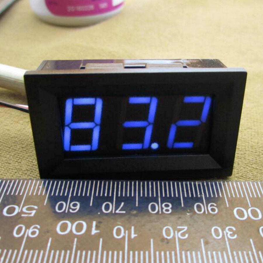 <font><b>10pcs</b></font> 0 - 99.9V DC Digital Display <font><b>Voltmeter</b></font> Three Bit Red Blue Green 0.56