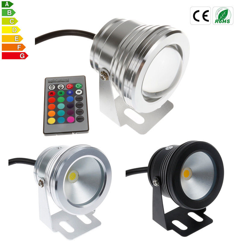 20pcs/lot 10W IP68 DC12V Underwater LED Light Waterproof Outdoor Swimming Pool Light Warm White / Cool White Black