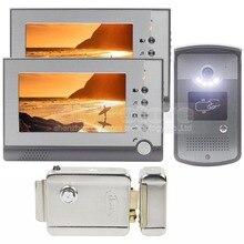 DIYSEUCR Cerradura Eléctrica 7 pulgadas Pantalla LCD de Video Teléfono de La Puerta Visual de Intercomunicación Timbre de la Puerta RFID LED de Visión Nocturna Cámara de 1 2 Monitor