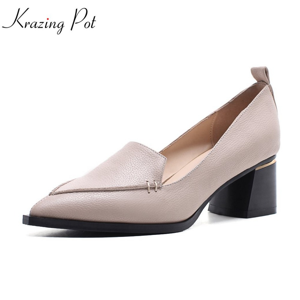 2018 Krazing Pot new cow leather high fashion office lady pointed toe shoes med heels simple style mature dress pumps women L02 2017 shoes women med heels tassel slip on women pumps solid round toe high quality loafers preppy style lady casual shoes 17