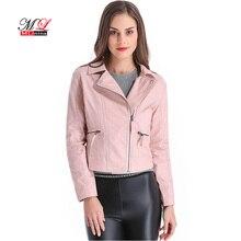 MLinina плюс Размеры 4XL кожаная куртка Для женщин короткие ПУ искусственной мягкой одноцветное байкерские куртки женские байкерские двигателя Casaco Женское пальто верхняя одежда