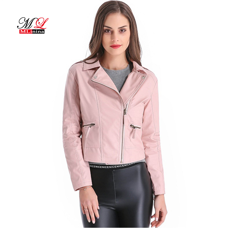 MLinina Plus Size 4XL   Leather   Jacket Women Short PU Faux Soft Basic Moto Jackets Female Biker Motor Casaco Feminino Coat Outwear