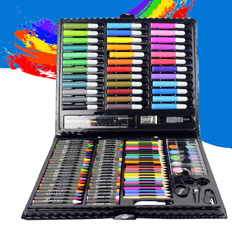150pcs/set water-color Drawing Painting Set Water Color Pen Crayon Oil Pastel Paint Brush Drawing Tool Art School stationery set bgln thick color artist 24 color oil pastels set round shape oil pastel crayon sticks 24 colors set school stationery