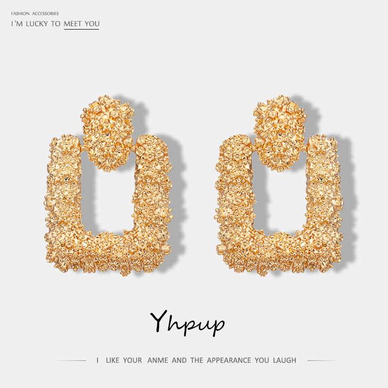 Yhpup Fashion Brand ZA Geometric Dangle Drop Earrings Statment Jewelry Gold Brincos For Women Party pendientes mujer moda 2018