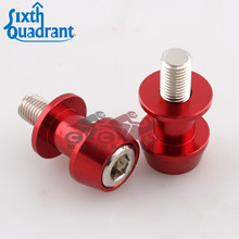Red 10mm Motorcycle CNC Rear Stand Swing Arm Spool Sliders Stand Swingarm Bobbins Spools Stands Screws for Honda Yamaha Kawasaki