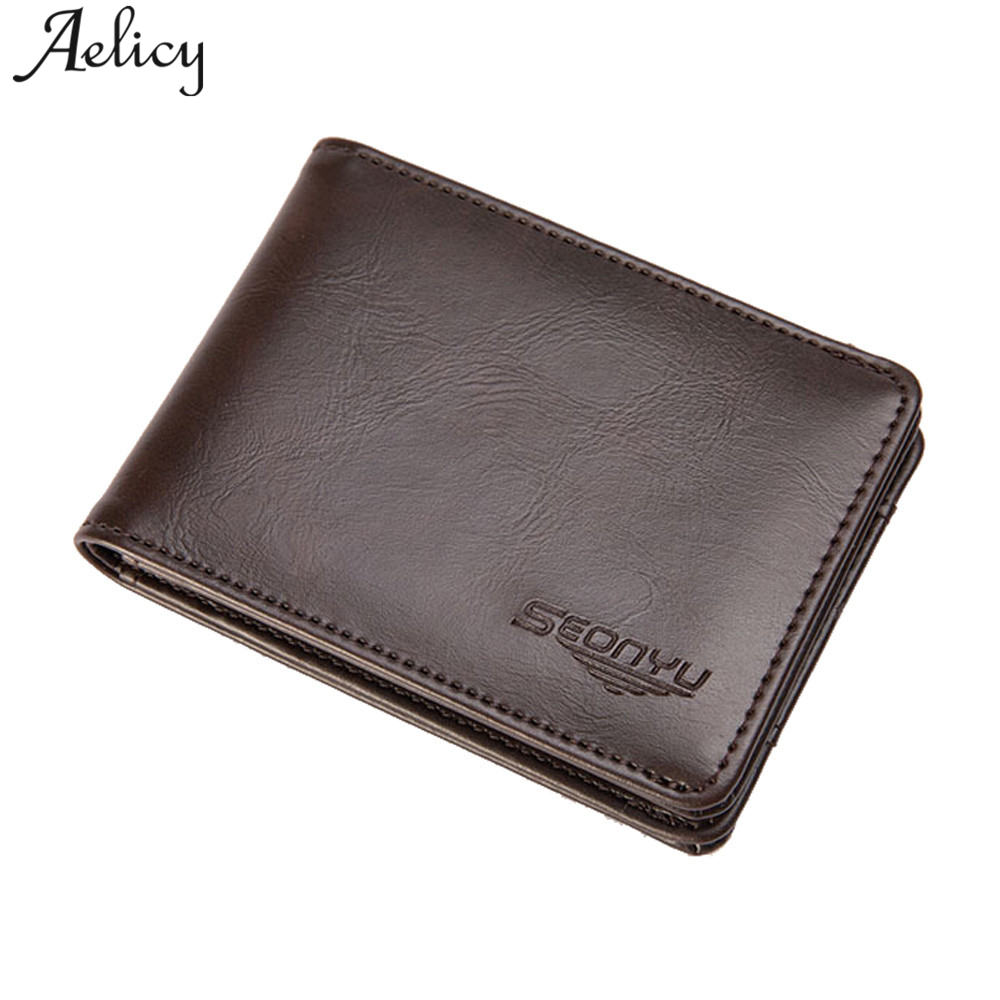 Aelicy Leather Wallet For Men Bifold Business Men Wallet Large Capacity Leather Money Bag Wallets luxury men wallet famous brand vicuna polo italy famous brand men wallet high quality pu leather trifold wallet large capacity short metal wallet for man
