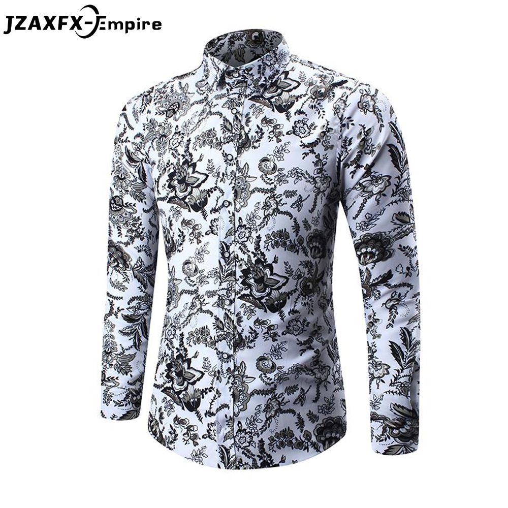 2018 New Fashion Print Shirts Men Long Sleeve Floral Slim Shirts Camisa Masculina Top Quality Male Casual Flower Shirt