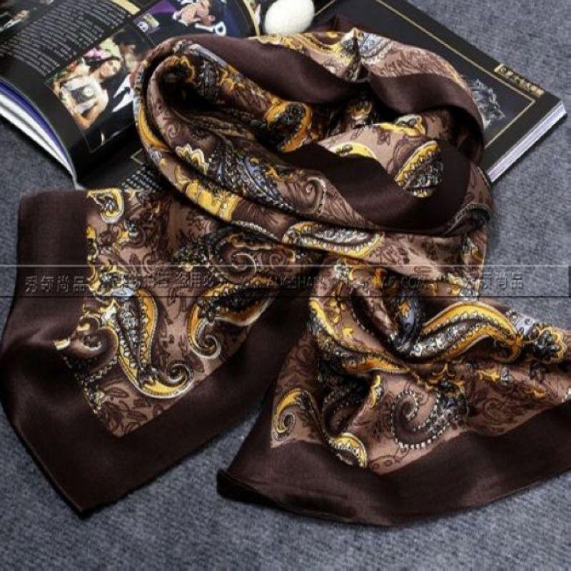 Модный мужской длинный шарф из шелка/мягкий шарф, брендовый двойной слой коричневого цвета