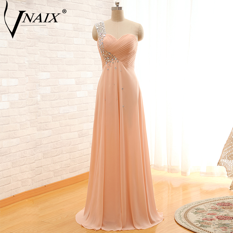 Vnaix PS09 Cheap   Prom     Dresses   Beaded One Shoulder Chiffon Floor Length Formal Party Evening   Dresses