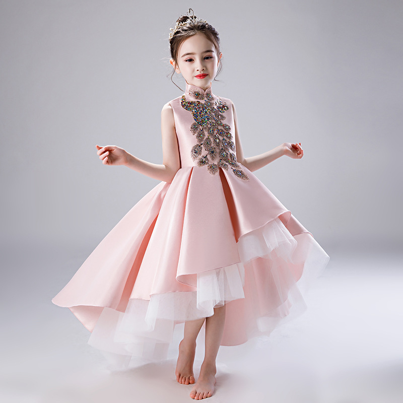 Pink Princess Dress Evening Party Gowns Short Front Long Back Sequined Flower Girl Dresses Wedding Big Bow Birthday Dress B471Pink Princess Dress Evening Party Gowns Short Front Long Back Sequined Flower Girl Dresses Wedding Big Bow Birthday Dress B471