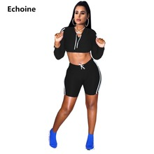 купить Casual 2 Piece Set Woman Sporting Tracksuit Crop Top And Shorts Crop Hoodies Slim Bodycon Shorts Set Side Triped Fitness Set дешево