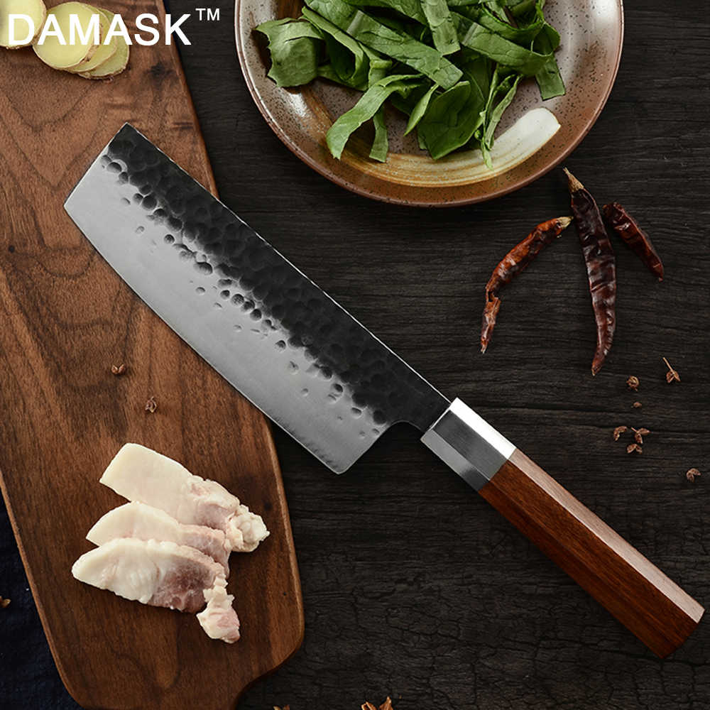 DAMASK Super Sharp Nakiri Handmade Forged Kitchen Knife Small Chopping Knife Stainless Steel Chef Knives Forged Cleaver Woodhand