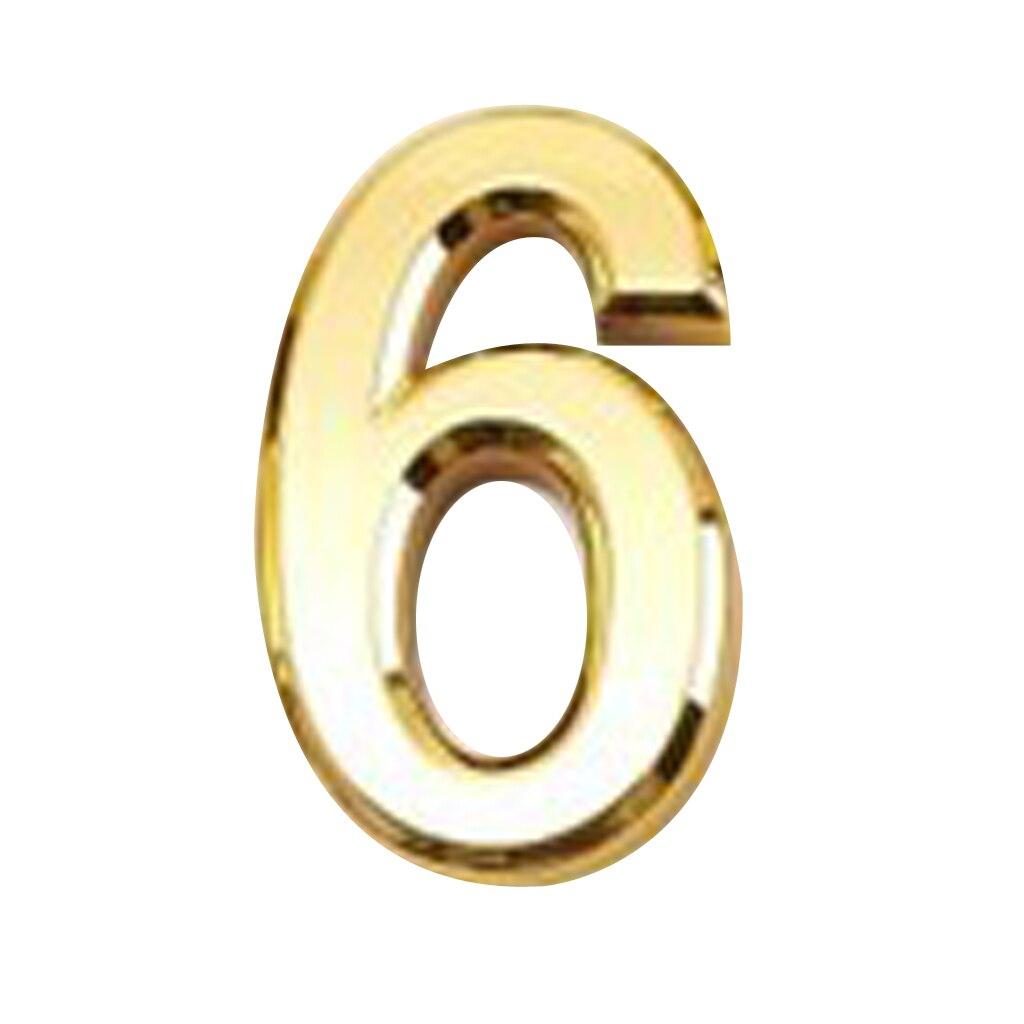 Golden Brass Plastic House Hotel Door Number Self Adhesive Building Sign 2