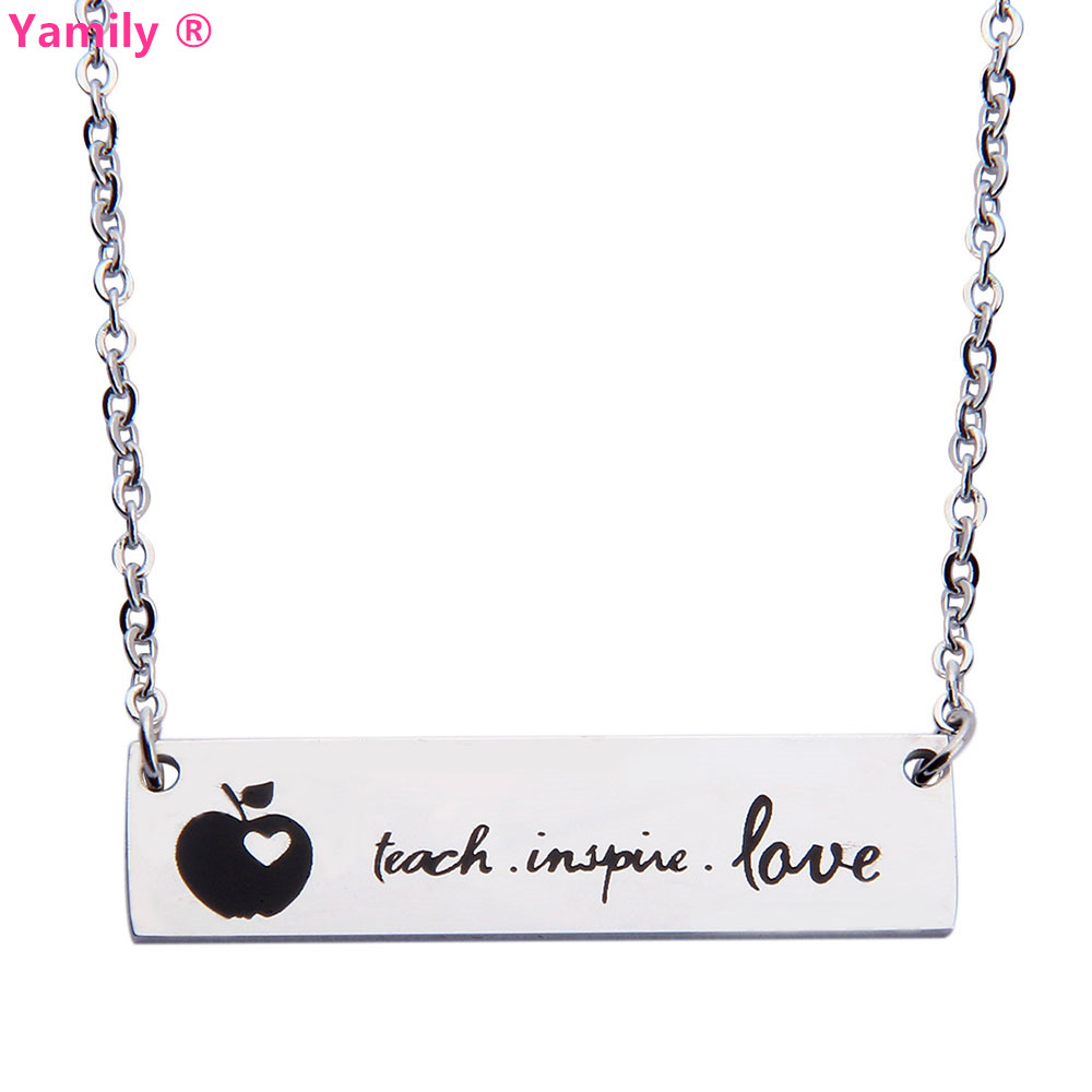 Yamily 10pcs/lot TEACH LOVE INSPIRE Memorial Pendant Charms Necklace Stainless Steel necklace teach jewelry gift