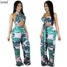 Summer new popular vestidos femme halter printing bodysuit women wide leg sexy jumpsuit two piece women