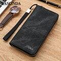 Brand Men Wallets Retro genuine canvas Male Wrist Strap phone Wallet Men Zipper Long Wallet Handy Bags Business Carteras