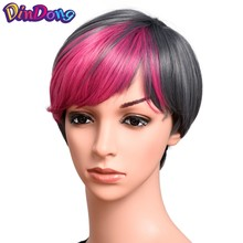 Synthetic Muti-color Bangs Short Straight Cosplay Party Hair Wig Bob Haircut Pixie Style with Bangs Pink Black Blonde Short Wig(China)