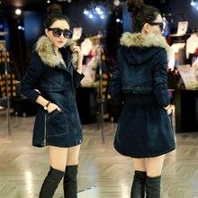 Luxury Fur Hooded Slim Waist Coat 2016 Fashion Women Thicken Wadded Parkas Winter Denim Jeans Coat Women Plus Size H7185