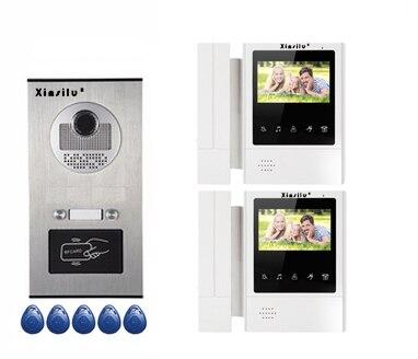 XINSILU New Arrival Home Security Intercom System Doorbell 2-apartments w/t 4.3Video Door Phone Monitors ID card Unlocking