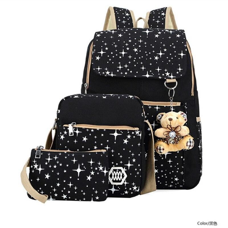 Canvas Backpack Women Large Capacity School Bags For Girls Kid Children Schoolbag Laptop Backpack Travel Bags Backpacks Mochila