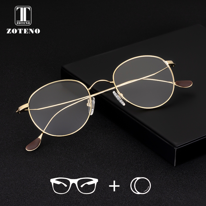 Glasses Prescription Progressive Women Optical-Eyewear Multifocal Gold Round Alloy