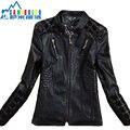 Весна 2014 Кожаное Пальто Женщин Короткий Верхняя Одежда Пальто Кожа Мода Новый Дамы Кожаная Куртка