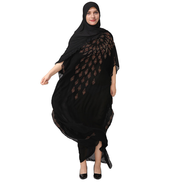 National Style Dubai Abaya Women Muslim Dress Loose Abaya Kaftan Turkish Muslim Women Long Dress Turkish Islam Muslim Dress A 2