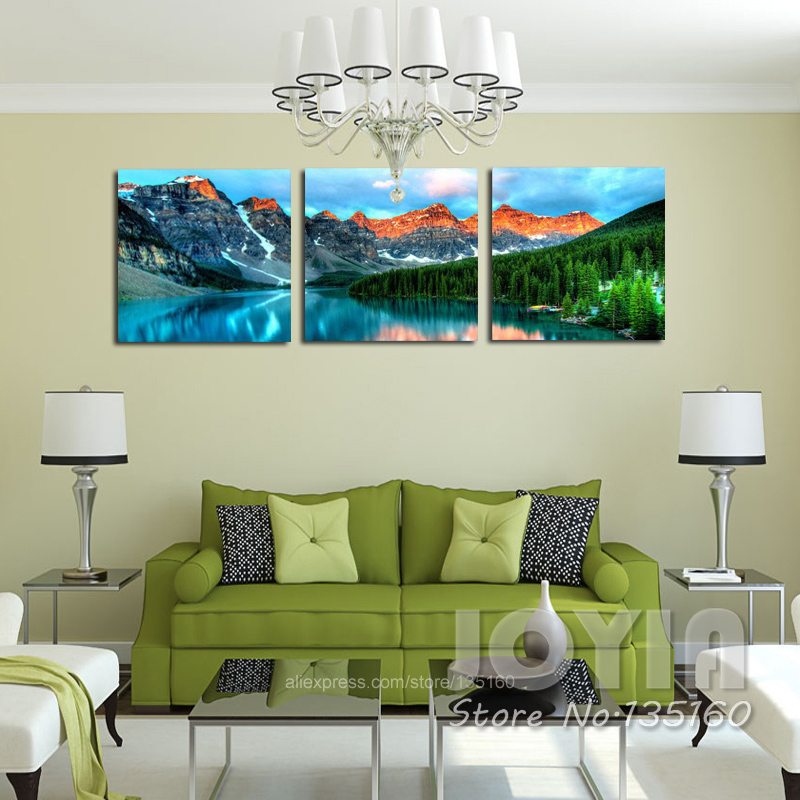 wall posters for living room 3 panel nature scenery wall mountain lake landscape 23469