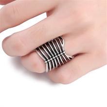 1 PC Vintage Sternum Ribs Open Ring For Women Men Punk Hollow Out Metal Big Ring 2019 New Fashion Jewelry punk style pure color hollow out ring for women