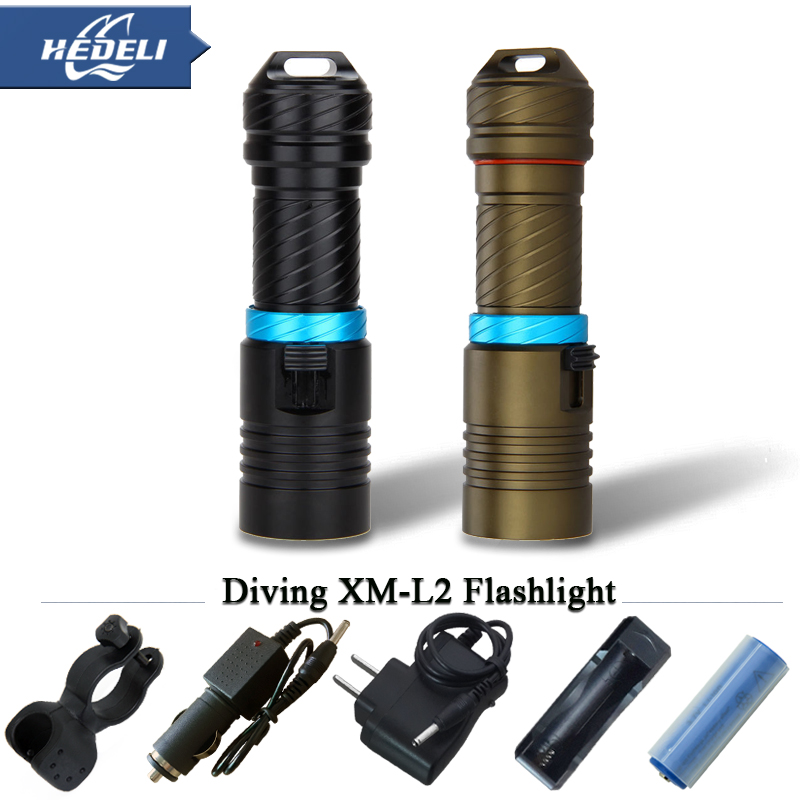 100 meters diving torch deep sea lighting LED strong light waterproof torch XM-L2 new camping fishing trip 18650 or 26650.