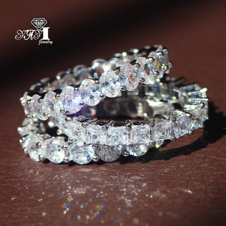 3 pcs YaYI Moda Jóias 9.6CT Zircão Branco Cor Prata do Corte Da Princesa Anéis de Noivado Anéis de casamento Anéis Partido