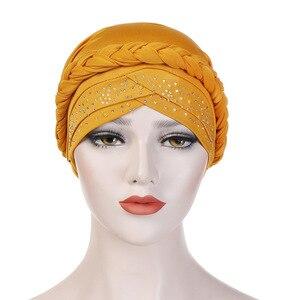 Image 5 - בוהמיה סגנון נשים טורבן כובע אופנה צמת קשר גברת ראש צעיף חיג אב המוסלמי הפנימי חיג אב עבור נשים שיער אביזרי שיער אובדן