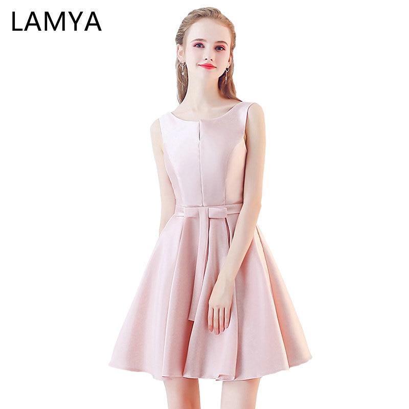 LAMYA Short Simple Satin Prom Dresses 2019 Elegant A Line Evening Gowns Women Plus Size Dress Simple Formal Gown Robe De Soiree