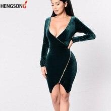 fed43a96c31 2018 женское весеннее бархатное сексуальное платье с глубоким v-образным  вырезом и низким вырезом