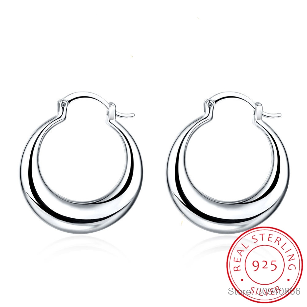 LEKANI Crescent Moon Round Creole Hoop Earrings for Women 925 Sterling Silver Statement Fine Jewelry Brincos Female Gifts