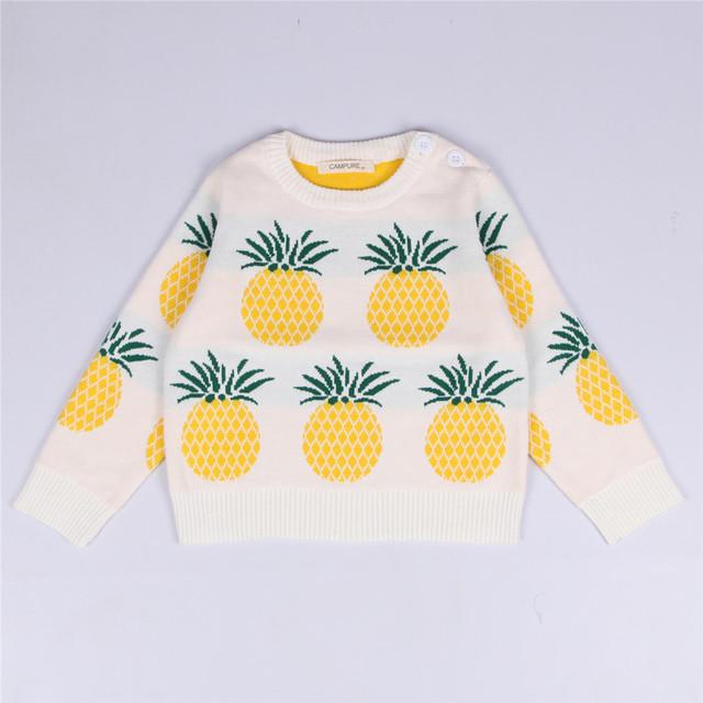 Nuevo invierno historieta de los bebés del suéter de nube de piña fruta niños ropa niños suéter caliente de manga larga para niñas prendas de punto