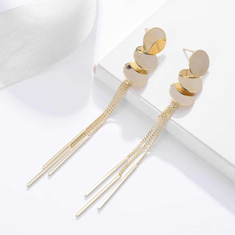 קישור ארוך שרשרת טאסל Drop עגיל לנשים זהב צבע עגול תליון עגילי אופנה מסיבת חתונה תכשיטי pendientes mujer