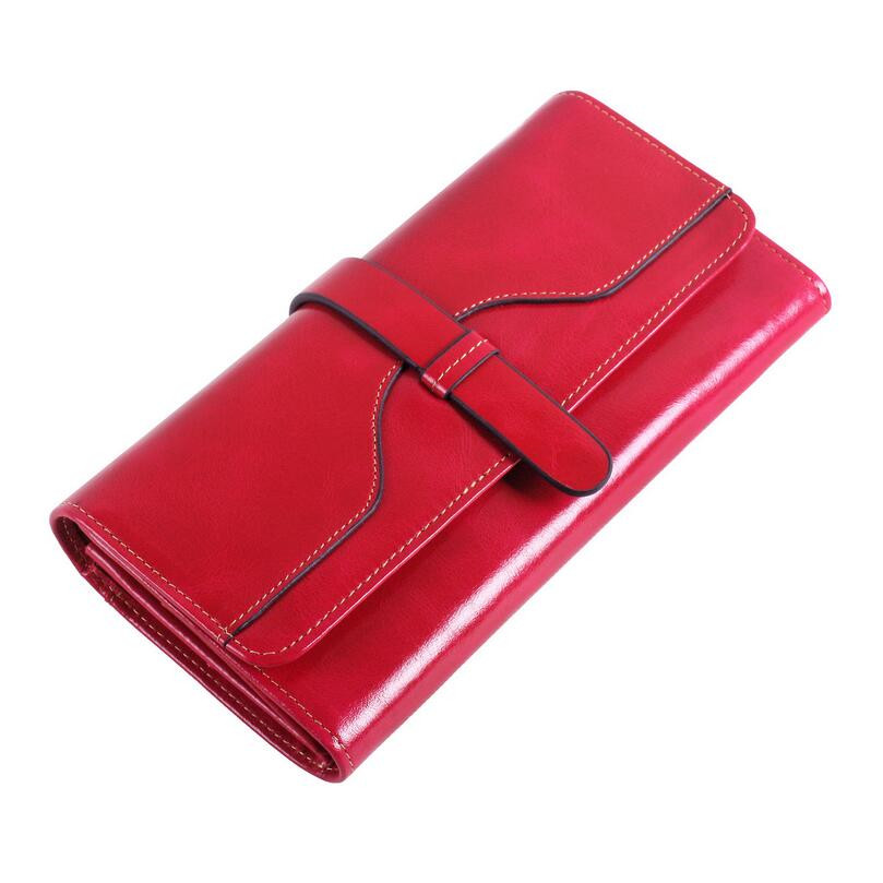 new 2017 high quality real leather wallet women wallets  id card holder money bag hot pink black brown female long wallet clutch brown genuine leather menu holder restautant menu cover money receipt high quality accept customized order print your own logo