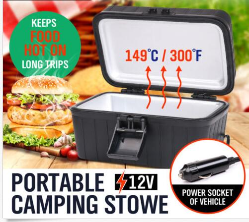 Car electric food heating lunch box heated stove for Car Boat Truck Caravan Camping +deep lid +carry handle +keep foods hot long