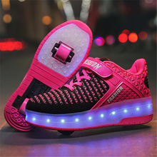 Детская обувь для взрослых роликовая обувь тонкие роликовые коньки обувь для мальчиков невидимые с роликом Катание на коньках USB зарядка два колеса