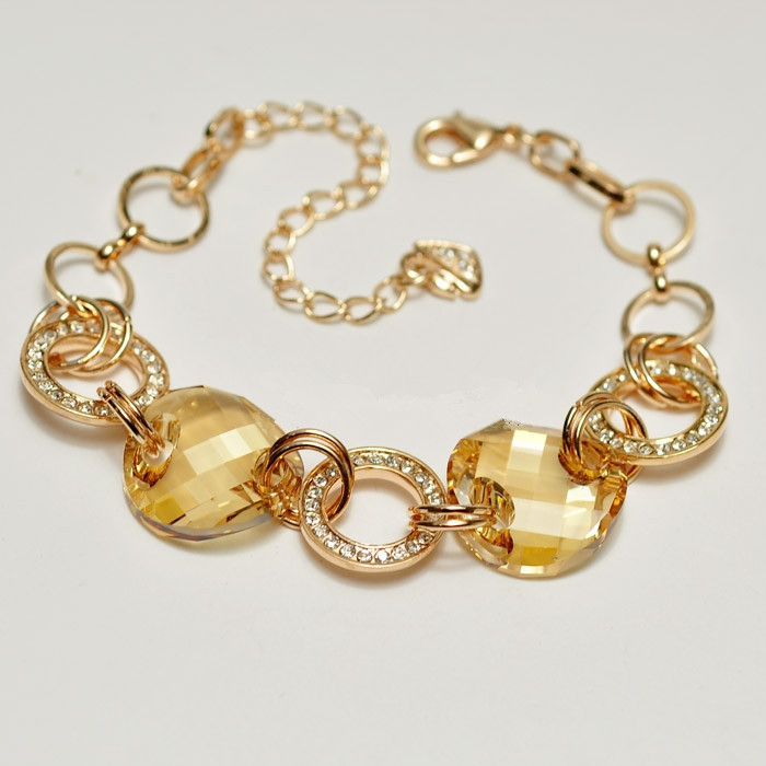 Top Quality Yellow crystal Luxury brands Exquisite ball Rose Gold Color Bracelet Austrian Crystals Wholesale