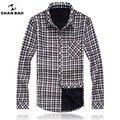 SHAN BAO marca camisa a cuadros ropa de los hombres de invierno más cálido buena calidad de ocio camisas de manga larga tamaño grande 3XL 4XL 5XL 6XL