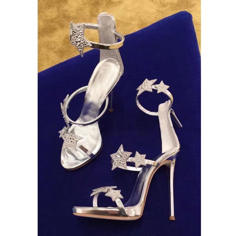 Estrellas Celebrity Zapatos Black Negro Picture Estilete silver Bombas Boda Brillantes T Sandalias As Rhinestone Cristal Tacones Plata Picture Etapa Estilo Mismo rxq48rA