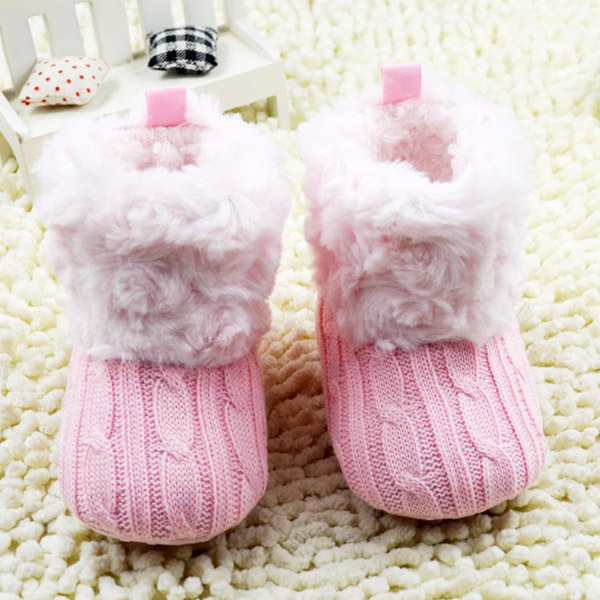 Infant Boys Girls Winter Warm Snow Boots First Walkers Baby Ankle Crochet Knit Fleece Baby Shoes