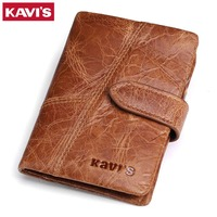 KAVIS New Arrival Crazy Horse Leather Wallet Men Male Purse Hasp Wallet Genuine Leather With Coin