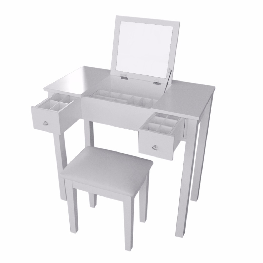 Fashion Modern Home Decoration Room Bedroom Storage Dresser With Dressing Table Stool With Mirror ship from germany home white dressing table with mirror and stool make up dresser set
